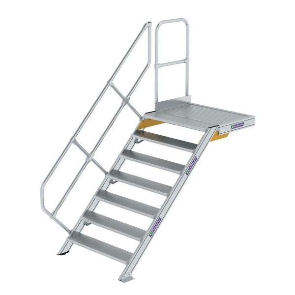 Treppe mit Plattform 45° Stufenbreite 1000 mm 7 Stufen Aluminium geriffelt