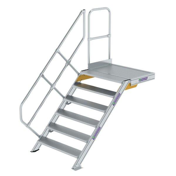 Treppe mit Plattform 45° Stufenbreite 1000 mm 6 Stufen Aluminium geriffelt