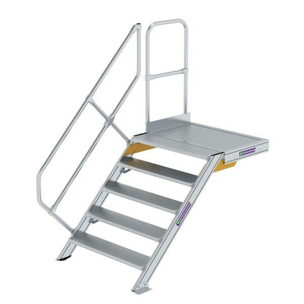 Treppe mit Plattform 45° Stufenbreite 1000 mm 5 Stufen Aluminium geriffelt