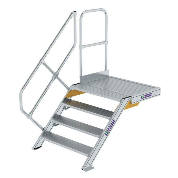 Treppe mit Plattform 45° Stufenbreite 1000 mm 4 Stufen Aluminium geriffelt