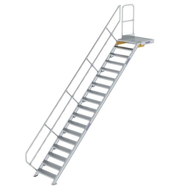 Treppe mit Plattform 45° Stufenbreite 800 mm 18 Stufen Aluminium geriffelt