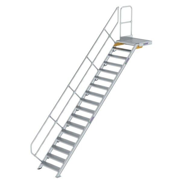 Treppe mit Plattform 45° Stufenbreite 800 mm 17 Stufen Aluminium geriffelt