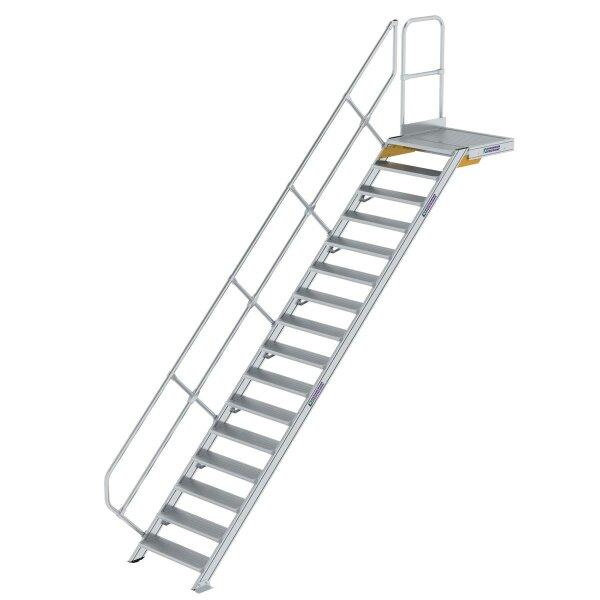 Treppe mit Plattform 45° Stufenbreite 800 mm 16 Stufen Aluminium geriffelt