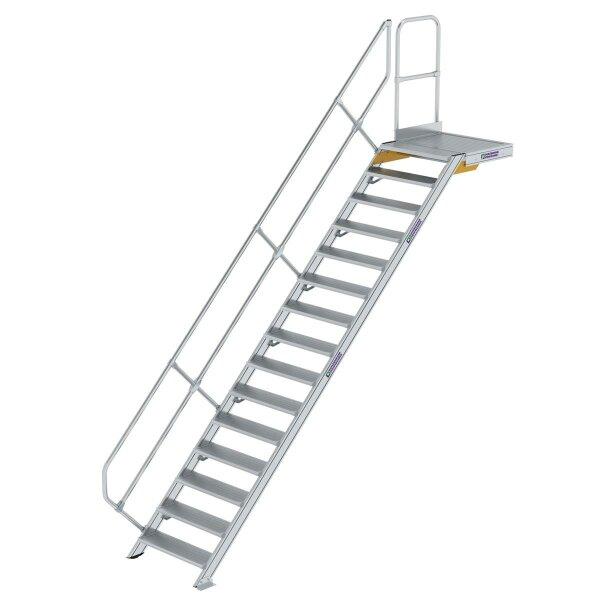 Treppe mit Plattform 45° Stufenbreite 800 mm 15 Stufen Aluminium geriffelt