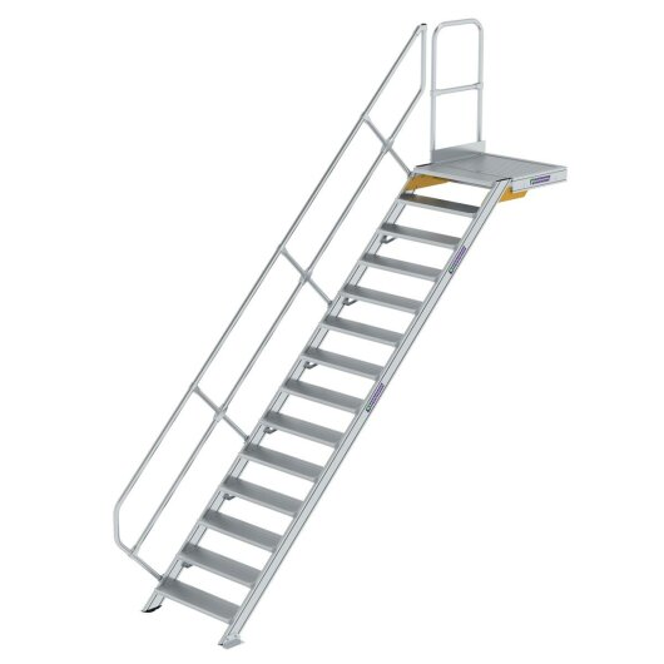 Treppe mit Plattform 45° Stufenbreite 800 mm 14 Stufen Aluminium geriffelt