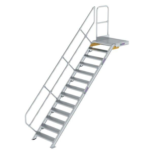 Treppe mit Plattform 45° Stufenbreite 800 mm 13 Stufen Aluminium geriffelt