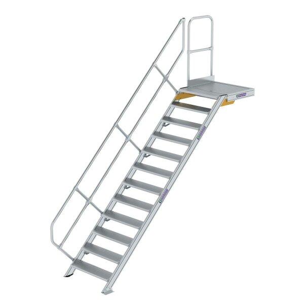 Treppe mit Plattform 45° Stufenbreite 800 mm 12 Stufen Aluminium geriffelt