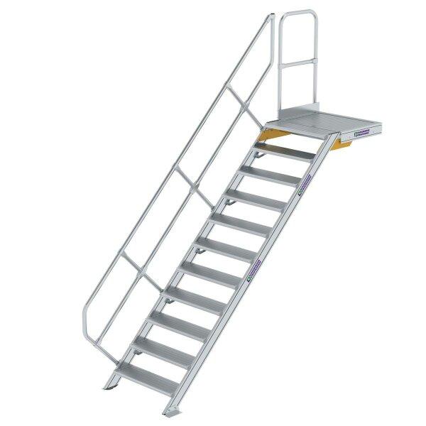 Treppe mit Plattform 45° Stufenbreite 800 mm 11 Stufen Aluminium geriffelt