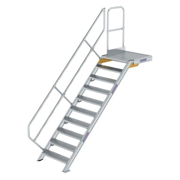 Treppe mit Plattform 45° Stufenbreite 800 mm 10 Stufen Aluminium geriffelt