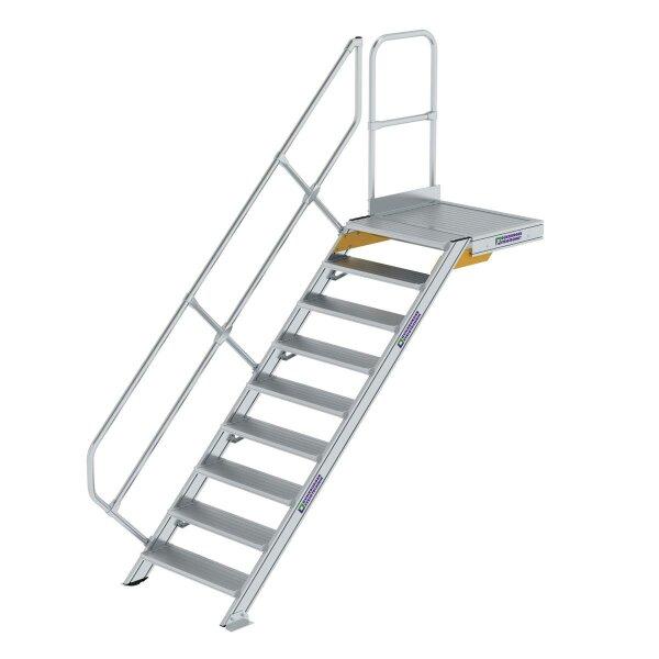Treppe mit Plattform 45° Stufenbreite 800 mm 9 Stufen Aluminium geriffelt
