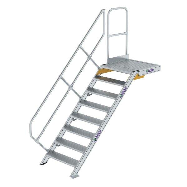 Treppe mit Plattform 45° Stufenbreite 800 mm 8 Stufen Aluminium geriffelt