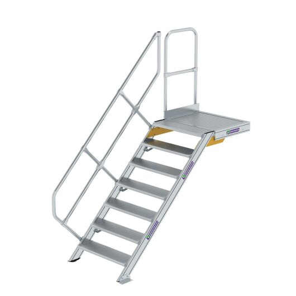 Treppe mit Plattform 45° Stufenbreite 800 mm 7 Stufen Aluminium geriffelt