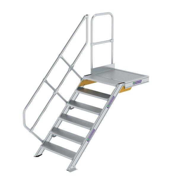 Treppe mit Plattform 45° Stufenbreite 800 mm 6 Stufen Aluminium geriffelt