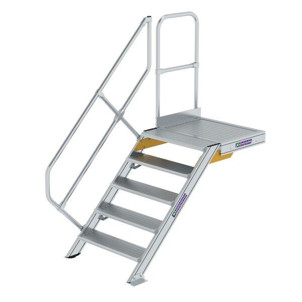 Treppe mit Plattform 45° Stufenbreite 800 mm 5 Stufen Aluminium geriffelt