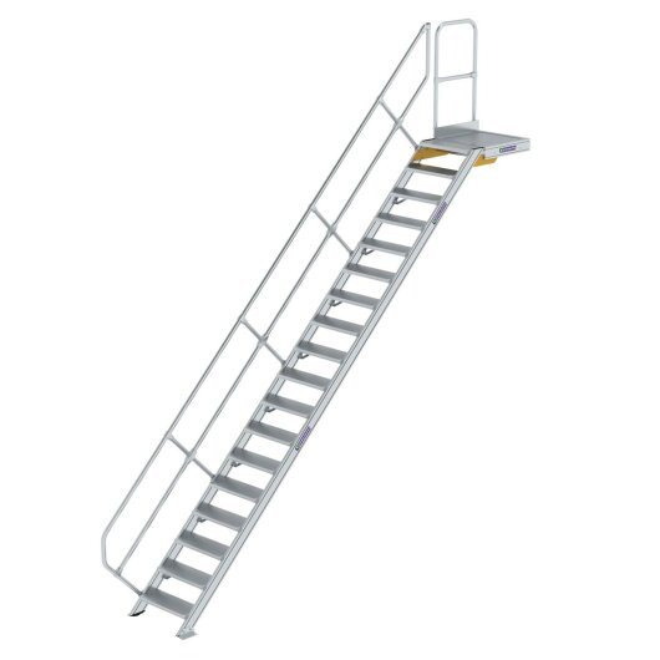 Treppe mit Plattform 45° Stufenbreite 600 mm 18 Stufen Aluminium geriffelt