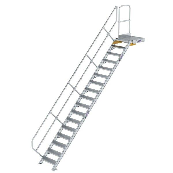 Treppe mit Plattform 45° Stufenbreite 600 mm 17 Stufen Aluminium geriffelt