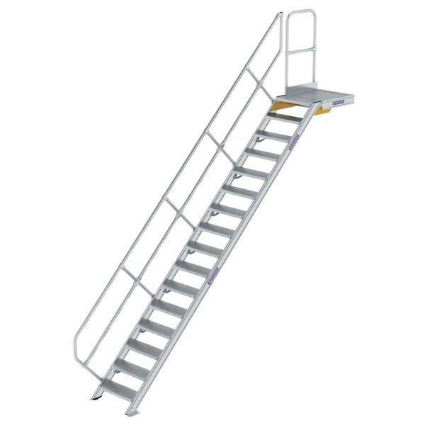 Treppe mit Plattform 45° Stufenbreite 600 mm 16 Stufen Aluminium geriffelt