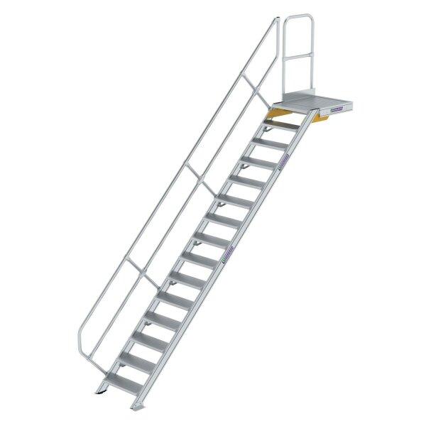 Treppe mit Plattform 45° Stufenbreite 600 mm 15 Stufen Aluminium geriffelt
