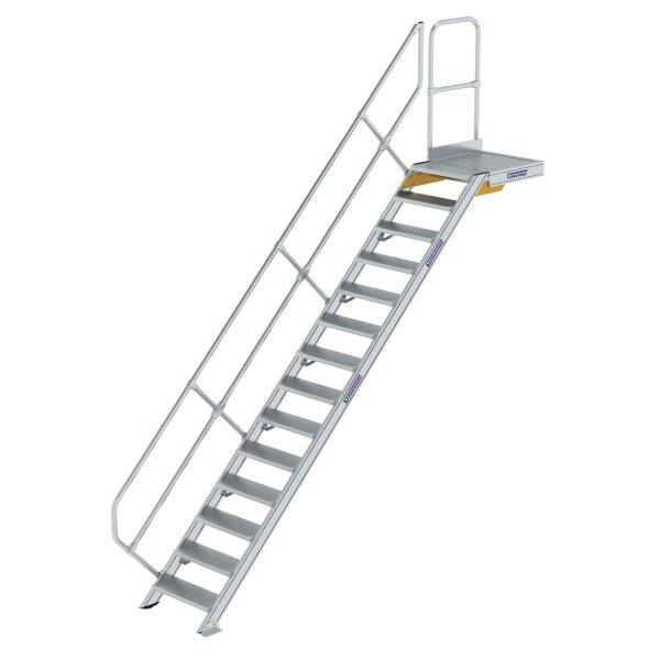 Treppe mit Plattform 45° Stufenbreite 600 mm 14 Stufen Aluminium geriffelt
