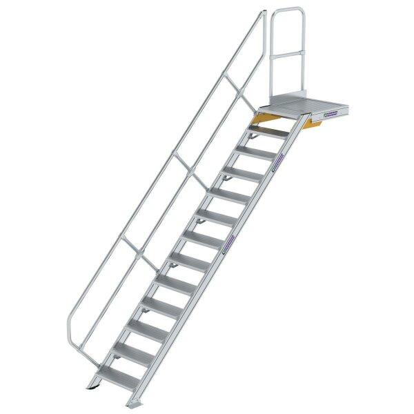 Treppe mit Plattform 45° Stufenbreite 600 mm 13 Stufen Aluminium geriffelt