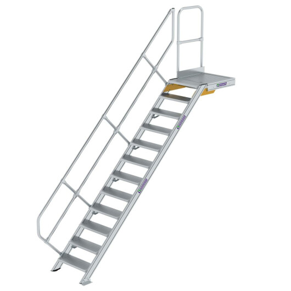 Treppe mit Plattform 45° Stufenbreite 600 mm 12 Stufen Aluminium geriffelt