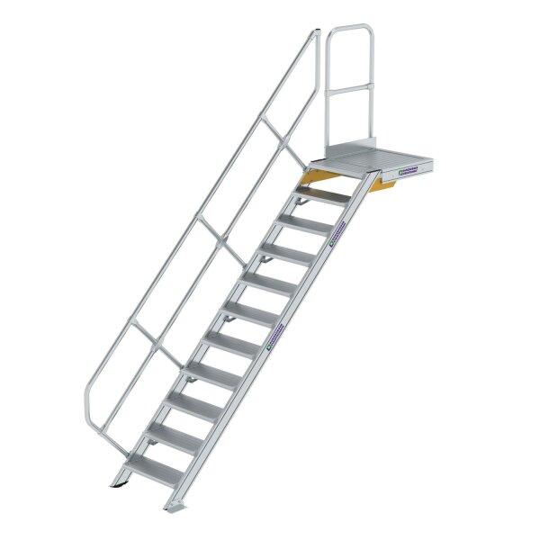 Treppe mit Plattform 45° Stufenbreite 600 mm 11 Stufen Aluminium geriffelt