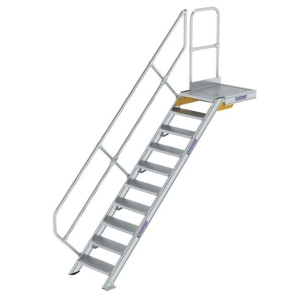 Treppe mit Plattform 45° Stufenbreite 600 mm 10 Stufen Aluminium geriffelt