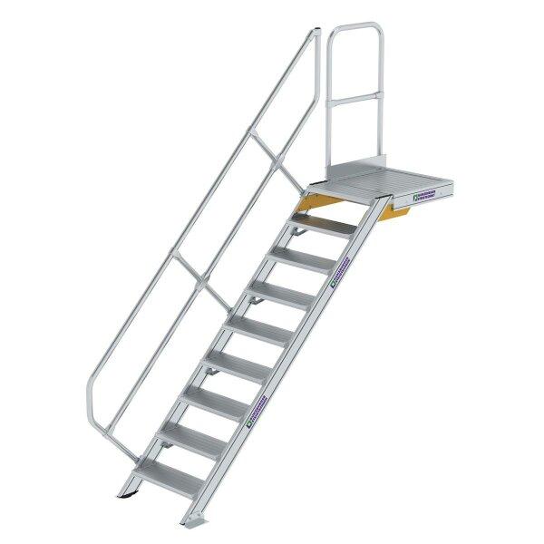 Treppe mit Plattform 45° Stufenbreite 600 mm 9 Stufen Aluminium geriffelt