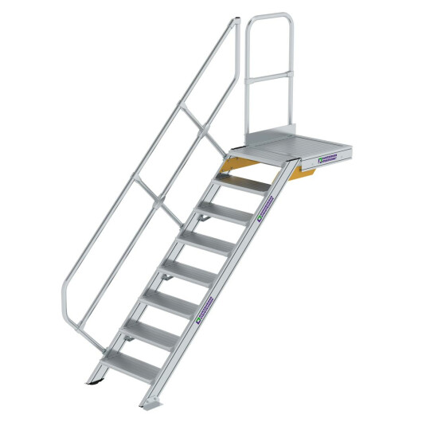 Treppe mit Plattform 45° Stufenbreite 600 mm 8 Stufen Aluminium geriffelt