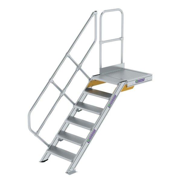 Treppe mit Plattform 45° Stufenbreite 600 mm 6 Stufen Aluminium geriffelt
