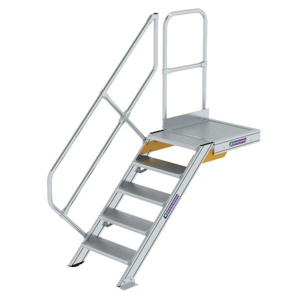 Treppe mit Plattform 45° Stufenbreite 600 mm 5 Stufen Aluminium geriffelt