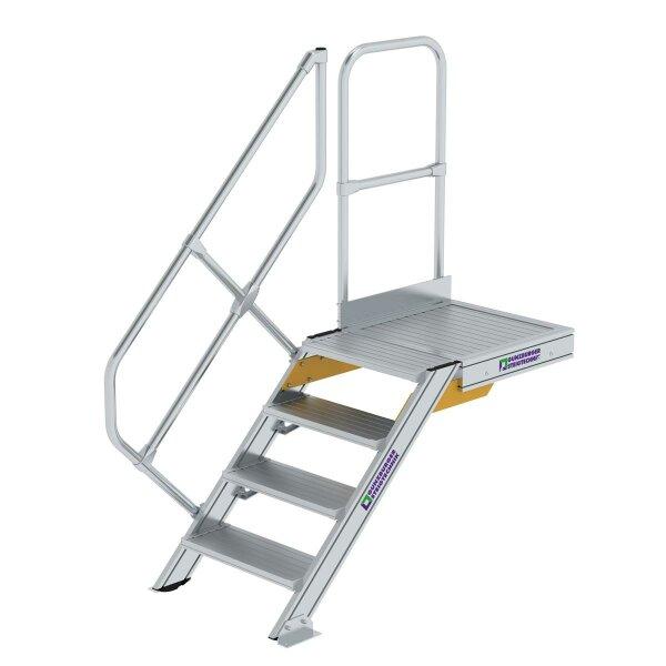 Treppe mit Plattform 45° Stufenbreite 600 mm 4 Stufen Aluminium geriffelt