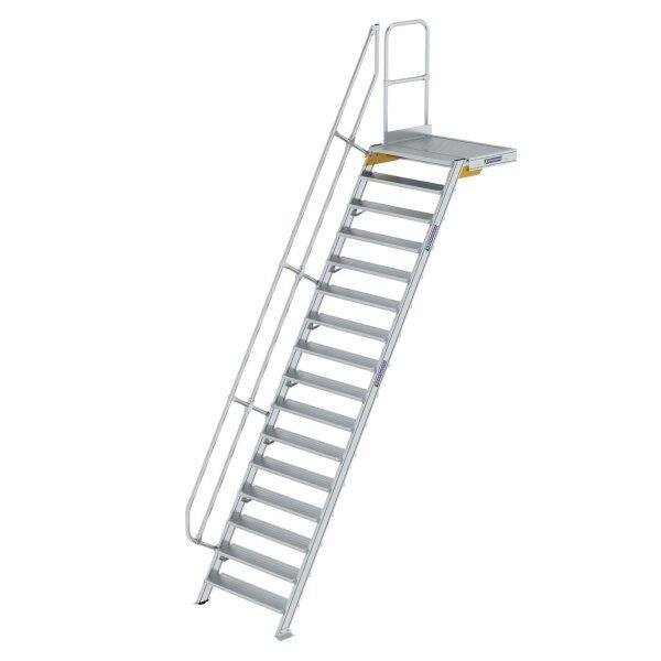 Treppe mit Plattform 60° Stufenbreite 1000 mm 16 Stufen Aluminium geriffelt