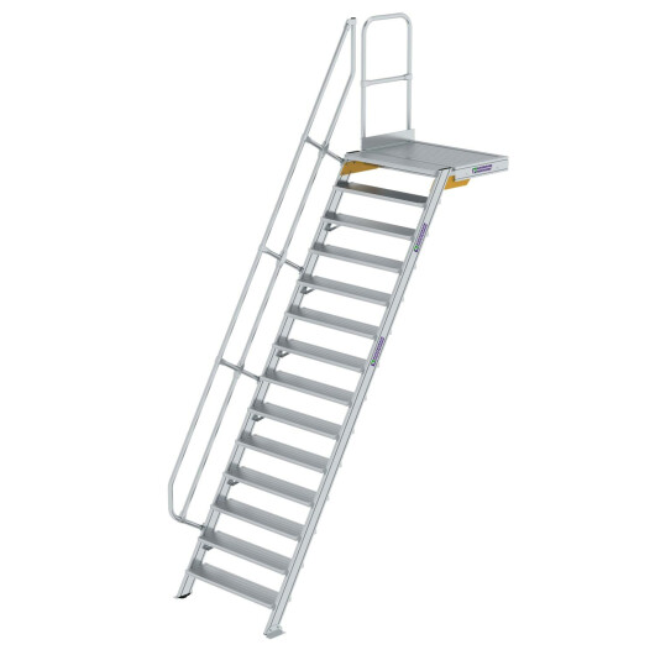 Treppe mit Plattform 60° Stufenbreite 1000 mm 14 Stufen Aluminium geriffelt