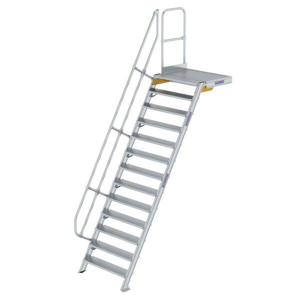 Treppe mit Plattform 60° Stufenbreite 1000 mm 13 Stufen Aluminium geriffelt