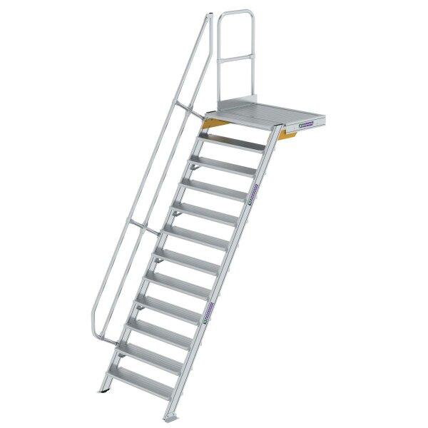 Treppe mit Plattform 60° Stufenbreite 1000 mm 12 Stufen Aluminium geriffelt