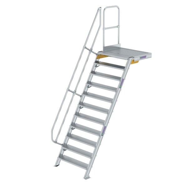 Treppe mit Plattform 60° Stufenbreite 1000 mm 11 Stufen Aluminium geriffelt