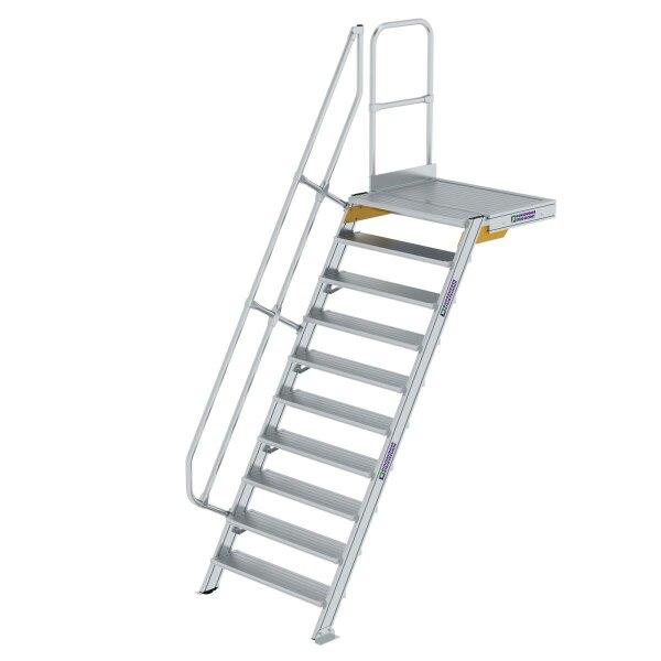 Treppe mit Plattform 60° Stufenbreite 1000 mm 10 Stufen Aluminium geriffelt