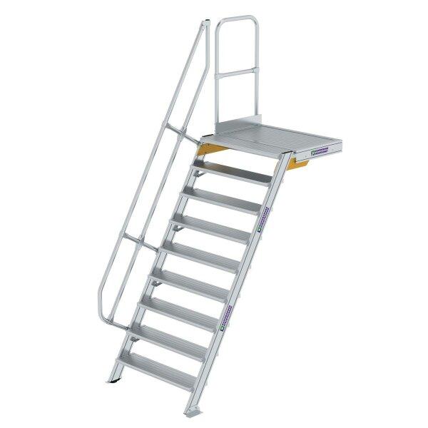 Treppe mit Plattform 60° Stufenbreite 1000 mm 9 Stufen Aluminium geriffelt