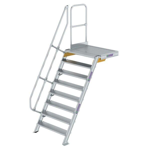 Treppe mit Plattform 60° Stufenbreite 1000 mm 8 Stufen Aluminium geriffelt