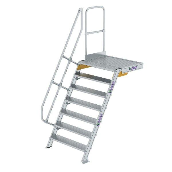 Treppe mit Plattform 60° Stufenbreite 1000 mm 7 Stufen Aluminium geriffelt