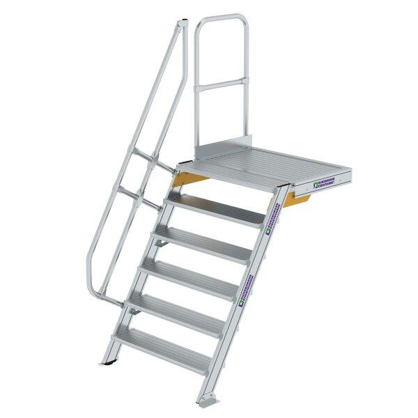 Treppe mit Plattform 60° Stufenbreite 1000 mm 6 Stufen Aluminium geriffelt