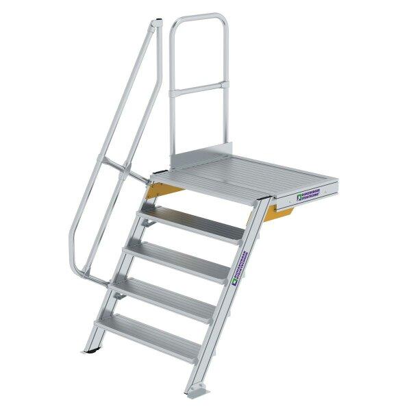 Treppe mit Plattform 60° Stufenbreite 1000 mm 5 Stufen Aluminium geriffelt