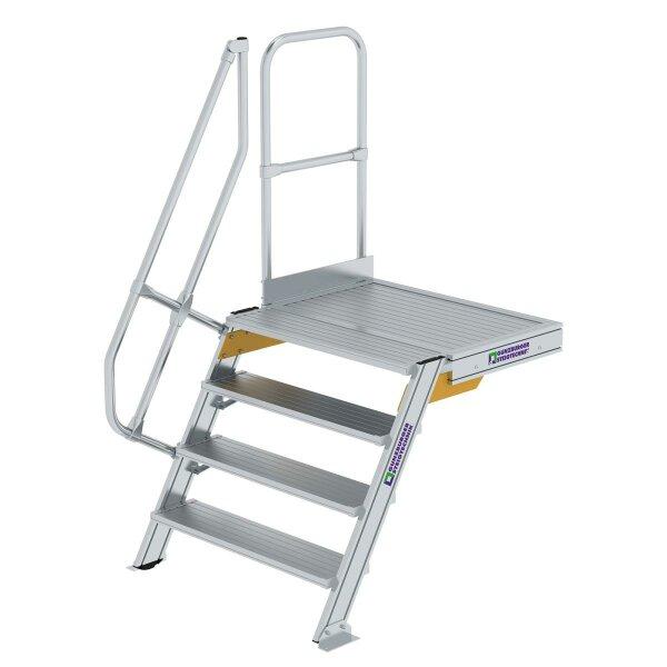 Treppe mit Plattform 60° Stufenbreite 1000 mm 4 Stufen Aluminium geriffelt