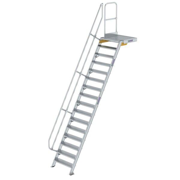 Treppe mit Plattform 60° Stufenbreite 800 mm 16 Stufen Aluminium geriffelt