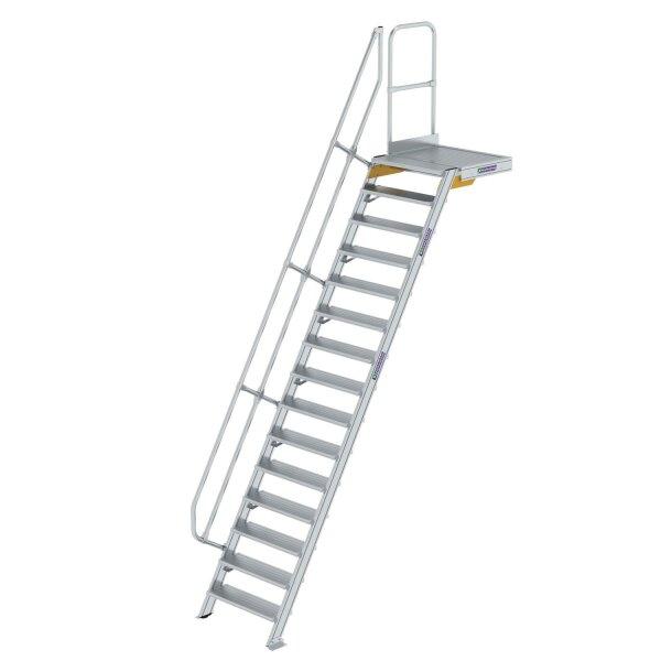 Treppe mit Plattform 60° Stufenbreite 800 mm 15 Stufen Aluminium geriffelt