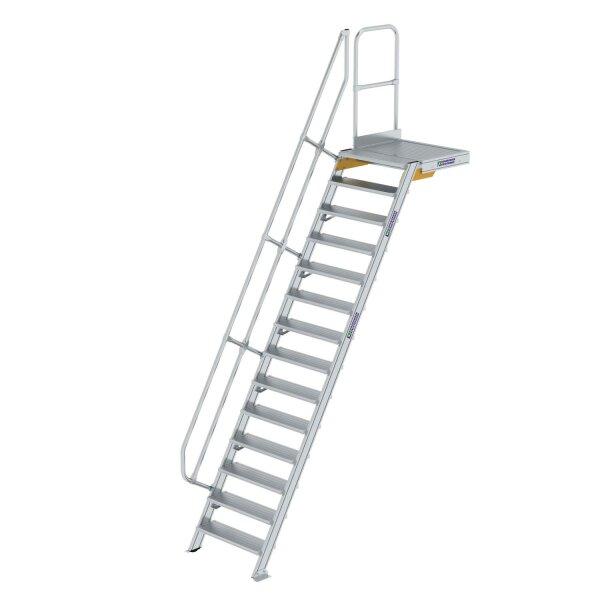 Treppe mit Plattform 60° Stufenbreite 800 mm 14 Stufen Aluminium geriffelt