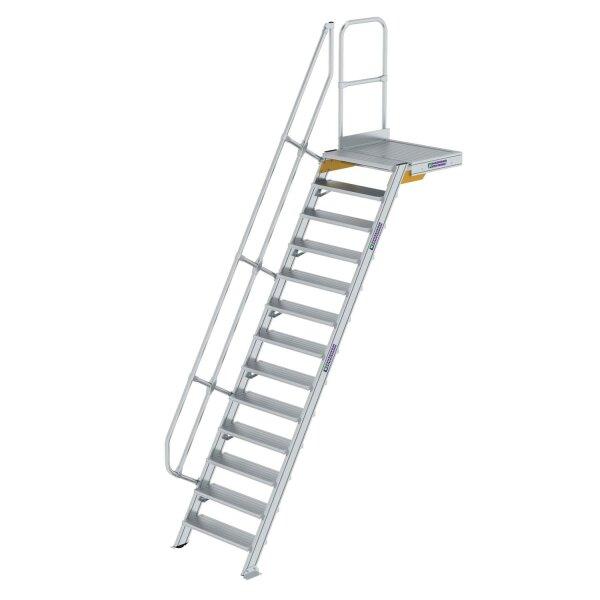 Treppe mit Plattform 60° Stufenbreite 800 mm 13 Stufen Aluminium geriffelt