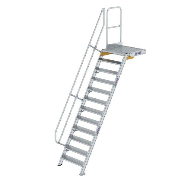 Treppe mit Plattform 60° Stufenbreite 800 mm 12 Stufen Aluminium geriffelt