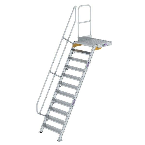 Treppe mit Plattform 60° Stufenbreite 800 mm 11 Stufen Aluminium geriffelt